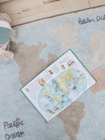 Tapis lavable Vintage Map, Beige, gris, bleu