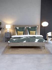 Łóżko tapicerowane z aksamitu Peace, Korpus: lite drewno sosnowe i pły, Tapicerka: poliester (tkanina strukt, Nogi: metal malowany proszkowo, Taupe, S 160 x D 200 cm