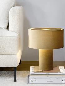 Samt-Tischlampe Frida, Lampenfuß: Kunststoff mit Samtbezug, Lampenschirm: Samt, Senfgelb, Ø 30 x H 36 cm