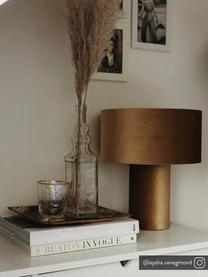 Fluwelen tafellamp Frida, Lampvoet: kunststof met fluwelen be, Lampenkap: fluweel, Diffuser: fluweel, Mosterdgeel, Ø 30 x H 36 cm