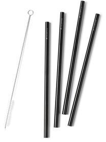 Komplet słomek Tawin, 5 elem., Stal 18/8, powlekana, Czarny, D 230 x W 10 cm