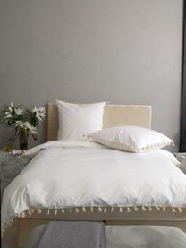 Pościel z perkalu z chwostami Quo, Biały, beżowy, 240 x 220 cm + 2 poduszki 80 x 80 cm