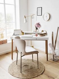 Fluwelen stoel Tess in beige, Bekleding: fluweel (polyester), Poten: gepoedercoat metaal, Fluweel beige, goudkleurig, B 49 x D 64 cm