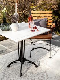 Stół ogrodowy z blatem z marmuru Loren, Blat: marmur, Stelaż: stal powlekana, Czarny, biały, marmurowy, S 70 x W 71 x G 70 cm