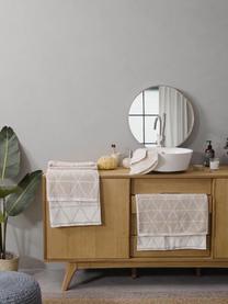 Wende-Handtuch-Set Elina mit grafischem Muster, 3-tlg., Sandfarben, Cremeweiß, Sondergrößen