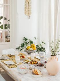 Handgemaakte Marokkaanse saladeschaal Couleur met goudkleurige details, Ø 25 cm, Keramiek, Zwart, crèmekleurig, goudkleurig, Ø 25 x H 12 cm