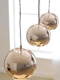 Große Kugel-Pendelleuchte Ball in Kupfer, Baldachin: Metall, lackiert, Kupfer, hochglanz, Schwarz, matt, 100 x 18 cm