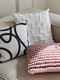 Kissenhülle Lorna mit getuftetem Muster, 100% Baumwolle, Weiß, 50 x 50 cm