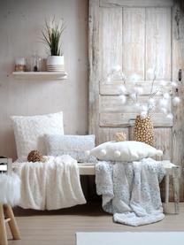 Flauschiges Plaid Vilnius, 100% Polyester, Cremefarben, Grau, Weiß, 125 x 150 cm