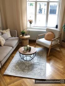 Fauteuil lounge en bois Becky, Tissu beige, bois de chêne