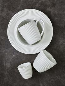 Handgemachte Becher Alice in Weiß mit Reliefdesign, 2 Stück, Steingut, Weiß, Ø 10 x H 9 cm
