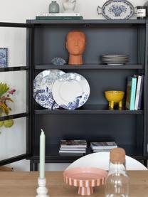 Vetrina con gambe alte in metallo nero Marshall, Nero trasparente, Larg. 85 x Alt. 160 cm