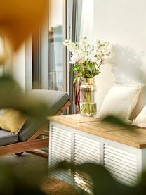 Auflagentruhe Storage aus Holz, Korpus: Mahagoni, lackiert, Deckel: Teakholz, geschliffen, Teak, Weiß, 130 x 60 cm