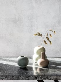 Kleine handgemaakte vaas Bobbles van keramiek, Keramiek, Beige, lichtgroen, Ø 9 x H 11 cm