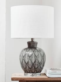Lampe à poser en céramique bohème Brooklyn, Socle: transparent. Pied de lampe: gris. Abat-jour crème. Câble: transparent
