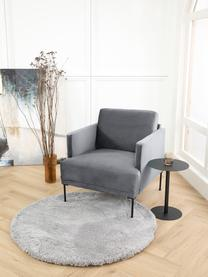 Fluwelen fauteuil Fluente in donkergrijs met metalen poten, Bekleding: fluweel (hoogwaardig poly, Frame: massief grenenhout, Poten: gepoedercoat metaal, Fluweel donkergrijs, B 74 x D 85 cm