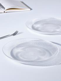 Glas-Speiseteller Nola mit Rillenrelief, 2 Stück, Glas, Transparent, Ø 32 cm