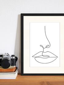 Gerahmter Digitaldruck She, Bild: Digitaldruck auf Papier, , Rahmen: Holz, lackiert, Front: Plexiglas, Schwarz, Weiß, 33 x 43 cm