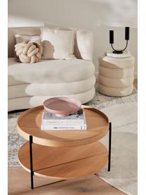 Tavolino da salotto con piano d'appoggio Renee, Ripiani: pannello di fibra a media, Struttura: metallo, verniciato a pol, Legno di frassino, Ø 69 x Alt. 39 cm