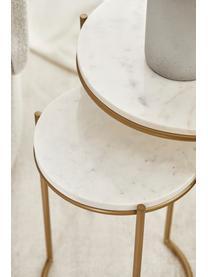 Marmor-Beistelltisch-Set Ella, 2-tlg., Weißer Marmor, Goldfarben, Sondergrößen