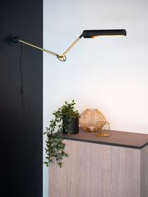 Verstellbare Wandleuchte Slender mit Stecker, Lampenschirm: Stahl, beschichtet, Schwarz, Messingfarben, 10 x 25 cm