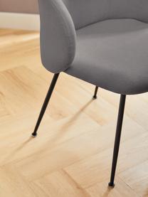 Polsterstühle Luisa, 2 Stück, Beine: Metall, pulverbeschichtet, Webstoff Grau, Schwarz, B 59 x T 58 cm