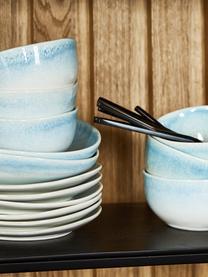 Assiette à soupe artisanale Amalia, 2pièces, Bleu ciel, blanc crème