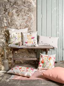 Kissenhülle Caleo mit Blumenmuster, 85% Baumwolle, 15% Leinen, Beige, Mehrfarbig, 40 x 40 cm