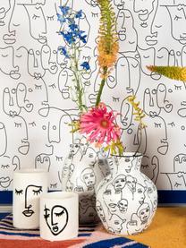 Mała osłonka na doniczkę z kamionki Face, Kamionka, Złamana biel, czarny, Ø 12 x W 13 cm