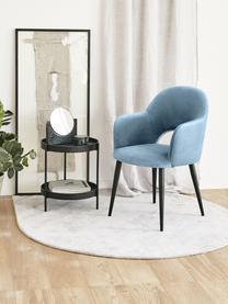Sametová židle spodručkami Rachel, Světle modrá
