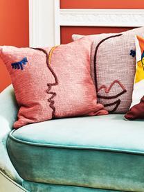 Grof geweven kussenhoes Faces met abstracte borduurwerk, biokatoen, 100% biokatoen, Koraalrood, donkerrood, blauw, mosterdgeel, 45 x 45 cm