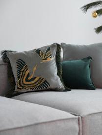 Bestickte Samt-Kissenhülle Onyx mit Fransen, Fransen: Polyester, Salbeigrün, Petrol, Goldfarben, 40 x 40 cm