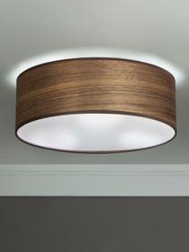Mała lampa sufitowa z drewna orzecha włoskiego Tsuri, Drewno orzecha włoskiego, biały, Ø 30 x W 10 cm