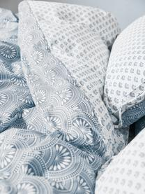 Gemusterte Wendebettwäsche Poliana aus Bio-Baumwolle, Webart: Renforcé Fadendichte 180 , Blau, Weiß, 240 x 220 cm + 2 Kissen 80 x 80 cm