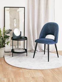 Sedia imbottita in velluto blu scuro Rachel, Rivestimento: velluto (rivestimento in , Gambe: metallo verniciato a polv, Velluto blu scuro, Larg. 53 x Prof. 57 cm
