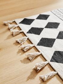 Ręcznie tkany dywan z bawełny w stylu etno Edna, 100% bawełna, Kremowobiały, czarny, S 80 x D 150 cm (Rozmiar XS)