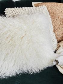 Housse de coussin en peau d'agneau à longs poils frisés Ella, Blanc