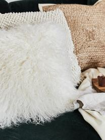 Langhaar-Lammfell Kissenhülle Ella in Naturweiss, gelockt, Vorderseite: 100% mongolisches Lammfel, Rückseite: 100% Polyester, Weiss, 40 x 40 cm
