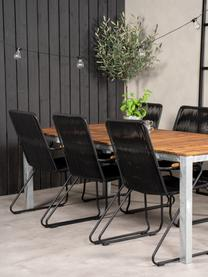Garten-Armlehnstühle Bois, 2 Stück, Sitzfläche: Seil, beschichtet, Gestell: Metall, lackiert, Armlehnen: Teakholz, Schwarz, Braun, B 60 x T 63 cm