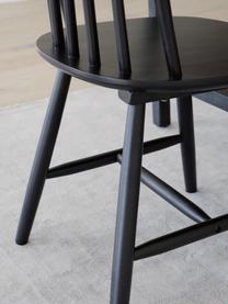Sedia in legno Milas 2 pz, Legno di caucciù verniciato, Nero, Larg. 52 x Prof. 45 cm