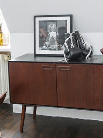 Retro Sideboard Juju mit Türen und Walnussfurnier, Füße: Eschenholz, massiv, gebei, Braun, Schwarz, 150 x 73 cm