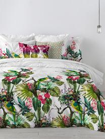 Dubbelzijdig dekbedovertrek Tropic, Katoen, Bovenzijde: wit, multicolour. Onderzijde: wit, 140 x 200 cm + 2 kussen 60 x 70 cm