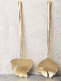 Handgemachtes Salatbesteck Leaves in Gold aus Messing, 2er-Set, Messing, Messing, 6 x 28 cm