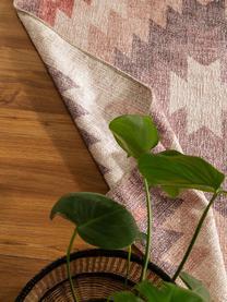 Dwustronny dywan kilim Ana Diamonds, 80% poliester 20% bawełna, Brudny różowy, wielobarwny, S 190 x D 290 cm (Rozmiar L)