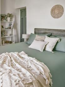 Koc z bawełny z chwostami i pomponami Pana, 100% bawełna, Kremowobiały, S 130 x D 170 cm