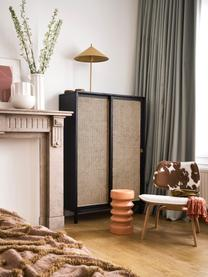 Kast Retro met Weens vlechtwerk en schuifdeuren, Frame: Sungkai hout, Poten: gecoat metaal, Handvatten: messing, Beige, zwart, 95 x 140 cm