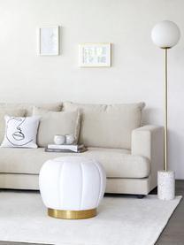 Stehlampe Cory mit Marmorfuß, Lampenschirm: Glas, Gestell: Metall, vermessingt, Lampenfuß: Marmor, Weiß, Messing, Ø 25 x H 160 cm