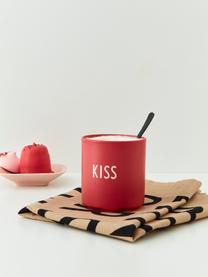 Design Becher Favourite KISS in Rot mit Schriftzug, Fine Bone China (Porzellan) Fine Bone China ist ein Weichporzellan, das sich besonders durch seinen strahlenden, durchscheinenden Glanz auszeichnet., Korallenrot, Weiß, Ø 8 x 9 cm
