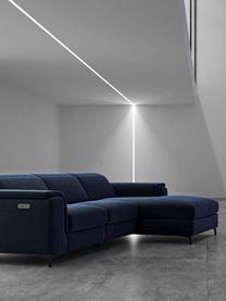 Sofa narożna z aksamitu z funkcją relaks Brito, Tapicerka: aksamit poliestrowy Dzięk, Nogi: metal lakierowany, Niebieski, S 300 x G 170 cm
