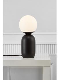 Lampada da tavolo con paralume in vetro Notti, Paralume: vetro, Base della lampada: metallo rivestito, Nero, bianco, Ø 15 x Alt. 35 cm